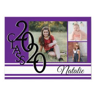 Varsity Purple 2020 Graduation Tri Photo Invitation