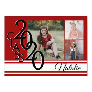 Varsity Red 2020 Graduation Tri Photo Invitation