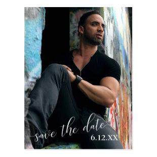 Vertical Photo White Text Save the Date Graduation Postcard