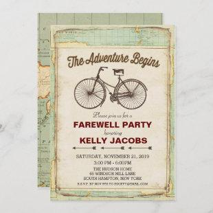 Vintage Bicycle Travel Farewell Party Invitation