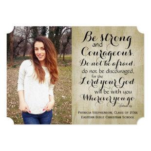 Vintage Christian Bible Verse Photo Graduation Invitation