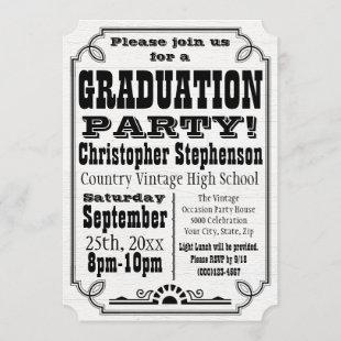 Vintage Country White Graduation Party Invitation