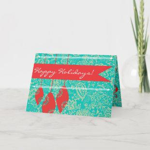 Vintage Floral Merry Christmas Card