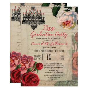 Vintage French Floral Boho Graduation Party Invitation