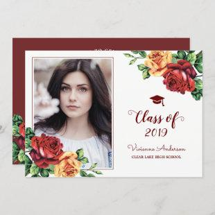 Vintage Rose Burgundy Red Graduation Photo Grad Invitation