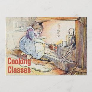 Vintage Watercolor Cooking Class Invitation