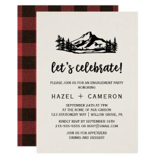 Vintage Wilderness | Buffalo Plaid Let's Celebrate Invitation