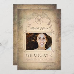 Vintage World Travel Map Graduation Party Invitation