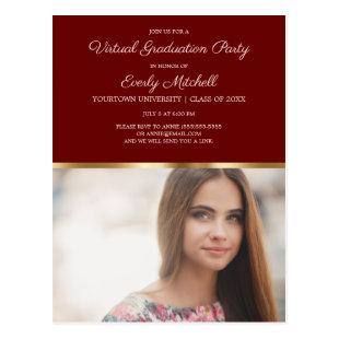 Virtual Graduation Party Burgundy Gold Photo Postcard