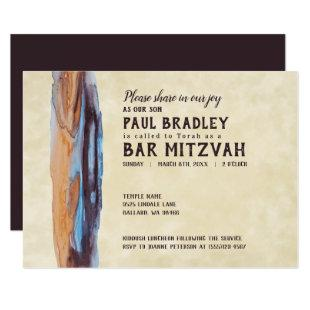 Vivid Caramel & Blue Bar Mitzvah Invitation