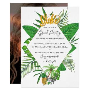 Watercolor Aloha Luau Graduation Party add photo Invitation