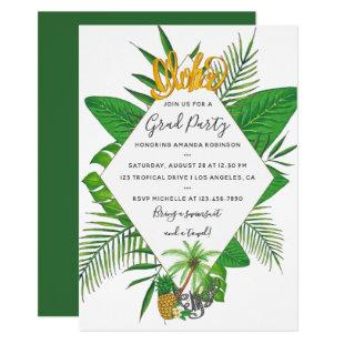 Watercolor Aloha Luau Graduation Party Invitation