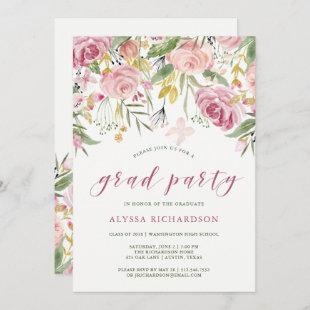 Watercolor Blooms Pink and Gold Graduation Party Invitation