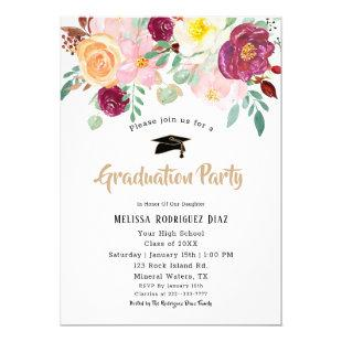 Watercolor Burgundy Flowers Graduation Party Invitation