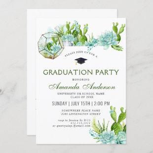 Watercolor Cactus Eucalyptus Graduation Party Invitation