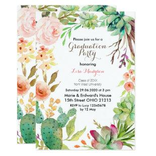 Watercolor Cactus Graduation Party Invite card