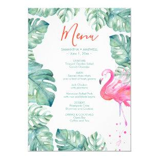 Watercolor Flamingo Tropical Menu Invitation
