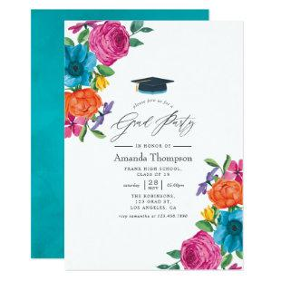 Watercolor Floral Fiesta Graduation Party Invitation
