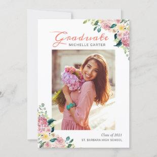 Watercolor Floral Girl Graduate Photo Graduation Announcement