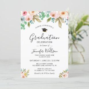 Watercolor Floral Girly Photo Graduation Party