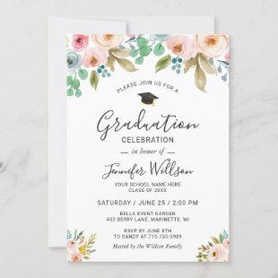 Watercolor Floral Girly Photo Graduation Party Invitation