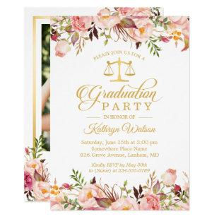 Watercolor Floral Gold Law School Graduation Photo Invitation