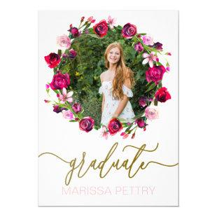 Watercolor Floral Grad Announcement, graduation Invitation