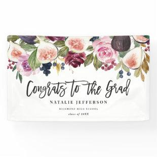 Watercolor floral graduate congratulations banner