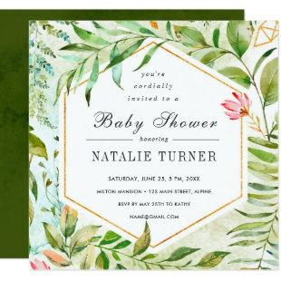Watercolor Floral Green Foliage Baby Shower Invitation