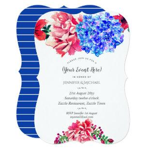 Watercolor Floral Invitation Red Blue ANY EVENT