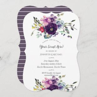 Watercolor Floral Invites Ultra Violet ANY EVENT