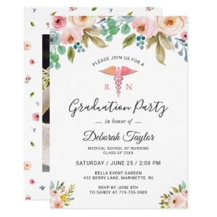 Watercolor Floral Nurse Graduate Photo Graduation Invitation