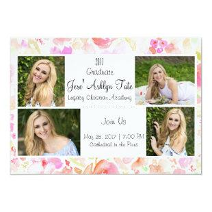 watercolor flower graduation announcement