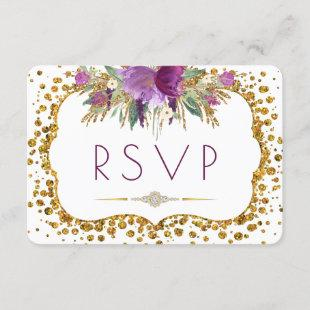 Watercolor Flowers Gold Glitter Confetti RSVP