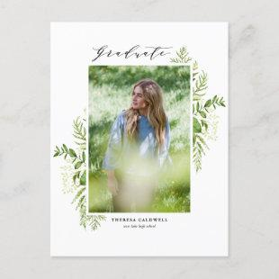 Watercolor Foliage Vertical Photo Graduation Announcement Postcard