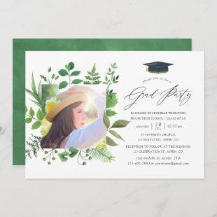 Watercolor Forest Greenery Graduation Party Invitation
