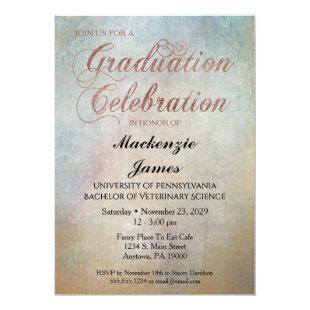 Watercolor Graduation Party Invitation Rose Gold
