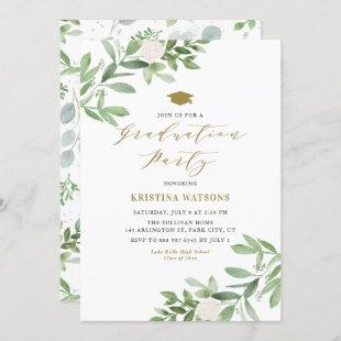 Watercolor Greenery and White Flowers Graduation Invitation