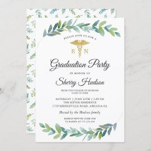 Watercolor Greenery Gold RN Nursing Graduation Invitation