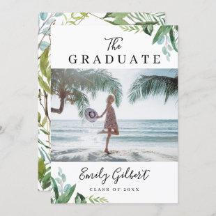 Watercolor Greenery Summer Graduation Party Photo Invitation