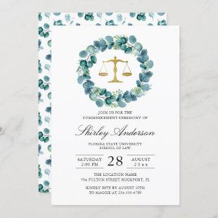 Watercolor Greenery Wreath Law School Graduation Invitation