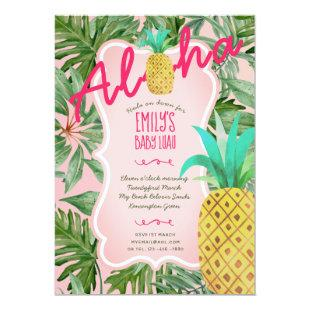 Watercolor Luau Baby Shower Invites Pineapple