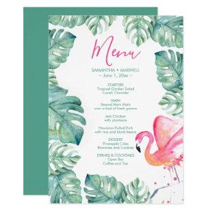 Watercolor Palm Leaves Pink Flamingo Tropical Menu Invitation