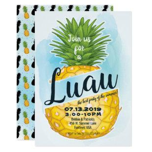 Watercolor Pineapple Luau Summer Party Invitation
