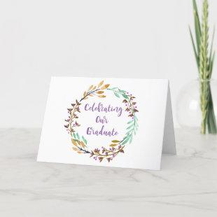 Watercolor Purple Gold Floral Wreath Graduation Announcement