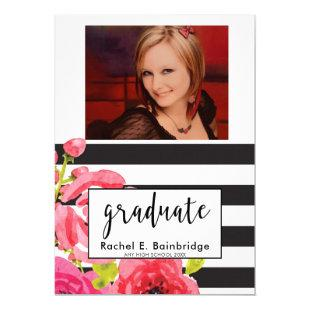 Watercolor Roses &  Stripes Photo Graduation Party Invitation