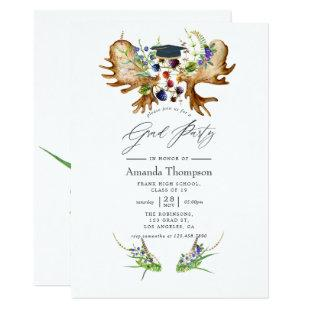 Watercolor Rustic Forest Graduation Party Invitation