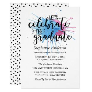 Watercolor Splashes | Celebrate the Graduate Invitation