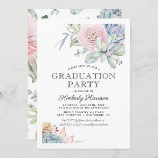Watercolor Succulent Floral Graduation Party Invitation