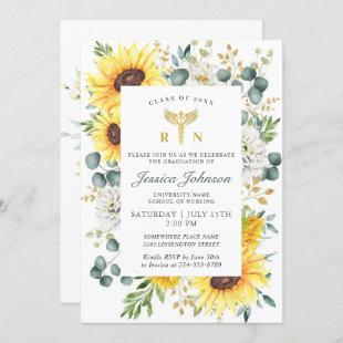 Watercolor Sunflower Eucalyptus Nursing Graduation Invitation